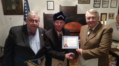 Pictured above, left to right: Dan Kemble, District Deputy Grand Master, District 18, Grand Lodge of Kentucky; Ernie Stratton, P.M., Master; Illustrious Brother Bill Lorenz.